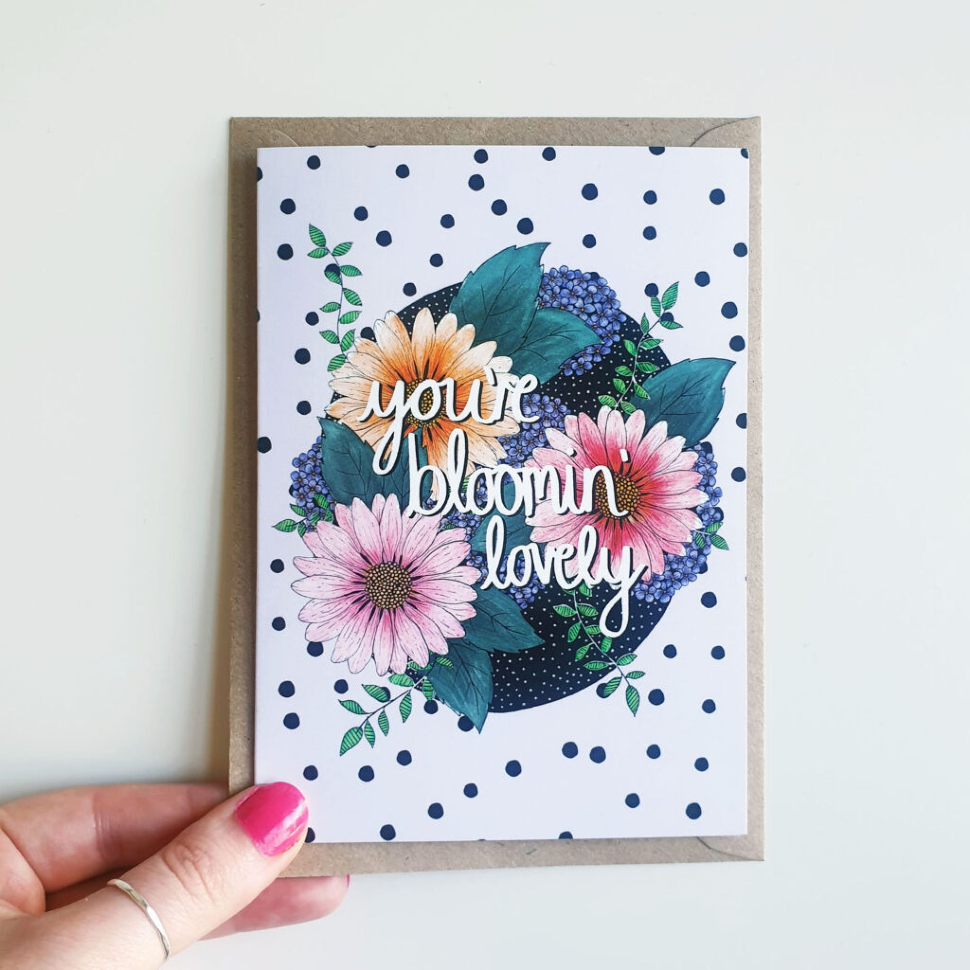 Bloom by Han. Daisy A6 Hand-drawn Greetings Card. Colourful flower illustration with brown envelope and blank inside
