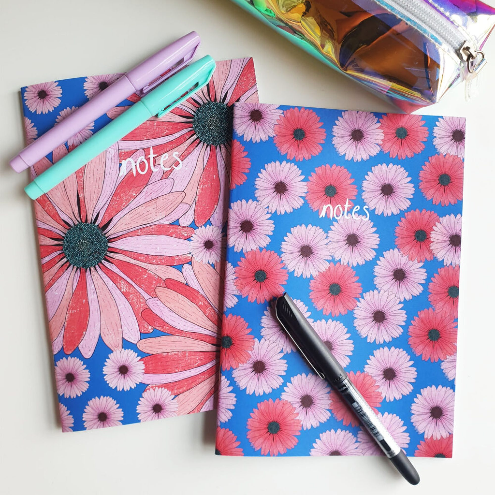 Bloom by Han, Daisy Floral A5 Lined Set of 2 Notebooks Pink and Blue Flowers with colourful office stationery and pens