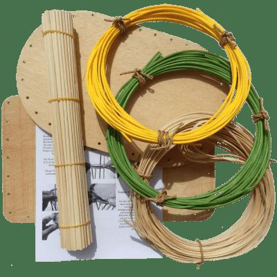 Korbflechtset Nr.14 Flechtboden Peddigschiene Peddigrohr gelb+grün Staken
