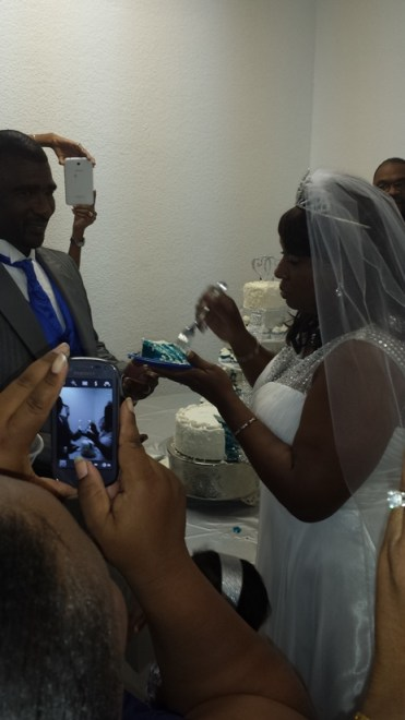 Blue Coconut Bomb Wedding Cake