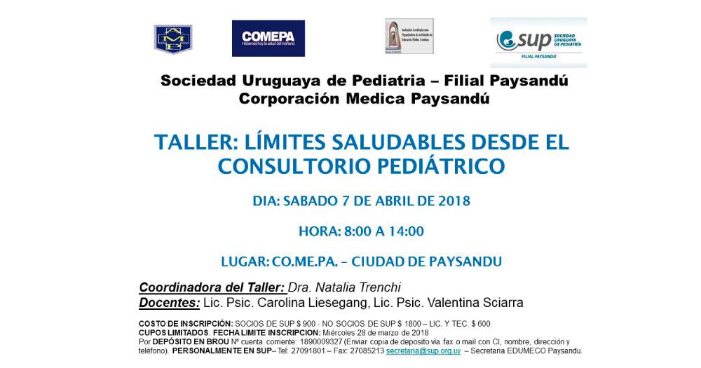 TALLER: Límites saludables desde el consultorio pediátrico, 7 de abril 2018, Paysandú.