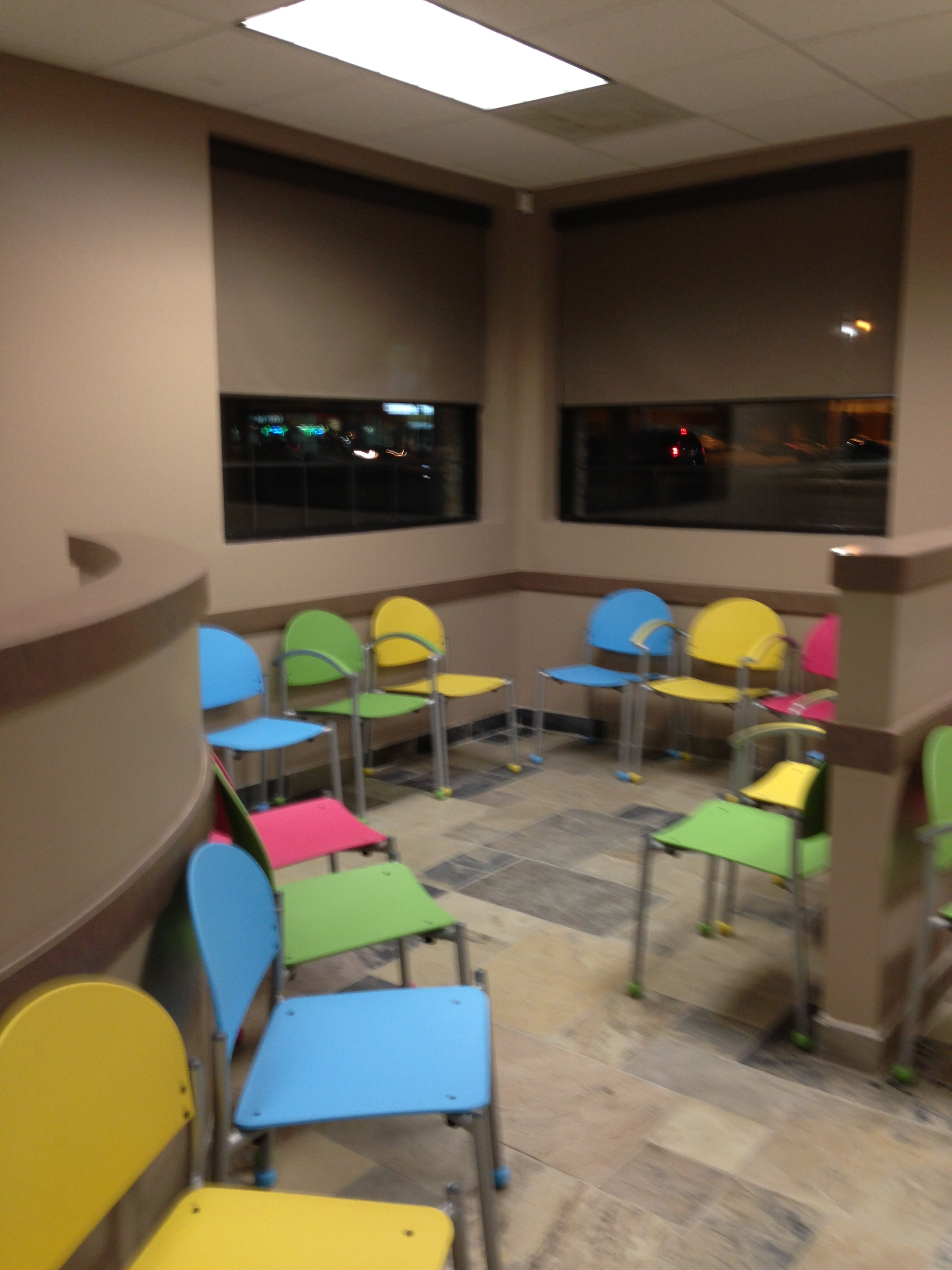 Colorful Waiting Room With Bola Chairs Affordable And