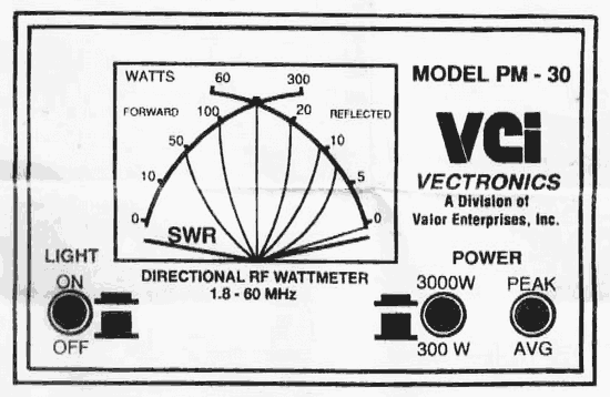 Vectronics PM-30 SWR/Power Meter User Manual and