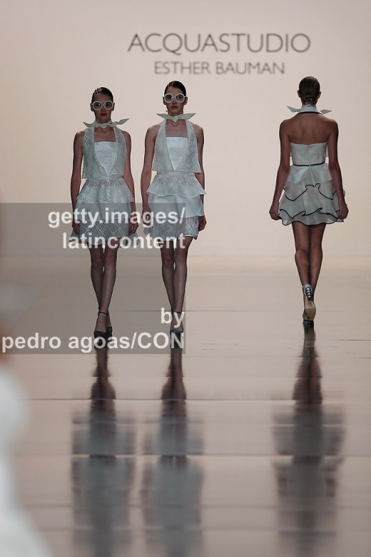 SAO PAULO, BRAZIL - MARCH 19: Acquastudio front stages its Summer 2013/2014 Collection during São Paulo Fashion Week (SPFW) on March 19, 2013 in São Paulo, Brazil. (Photo by Pedro Agoas/LatinContent/Getty Images)