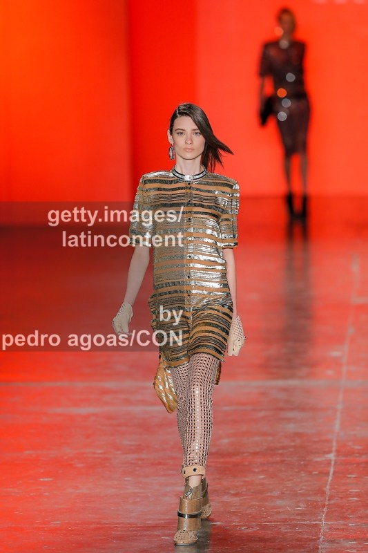 SAO PAULO, BRAZIL - MARCH 19: A model walks the runway at Ellus Summer 2013/2014 Collection show during São Paulo Fashion Week (SPFW) on March 19, 2013 in São Paulo, Brazil. (Photo by Pedro Agoas/LatinContent/Getty Images)