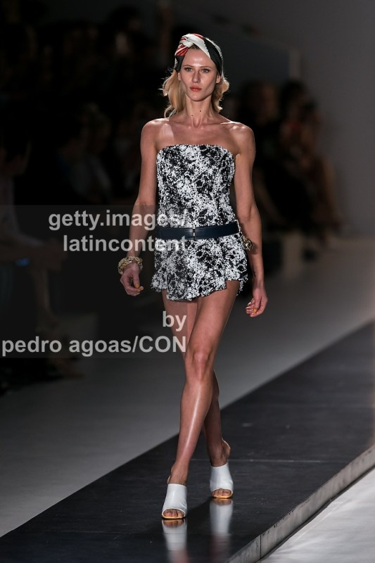 SAO PAULO, BRAZIL - MARCH 19: A model walks the runway at Forum Summer 2013/2014 Collection show during São Paulo Fashion Week (SPFW) on March 19, 2013 in São Paulo, Brazil. (Photo by Pedro Agoas/LatinContent/Getty Images)