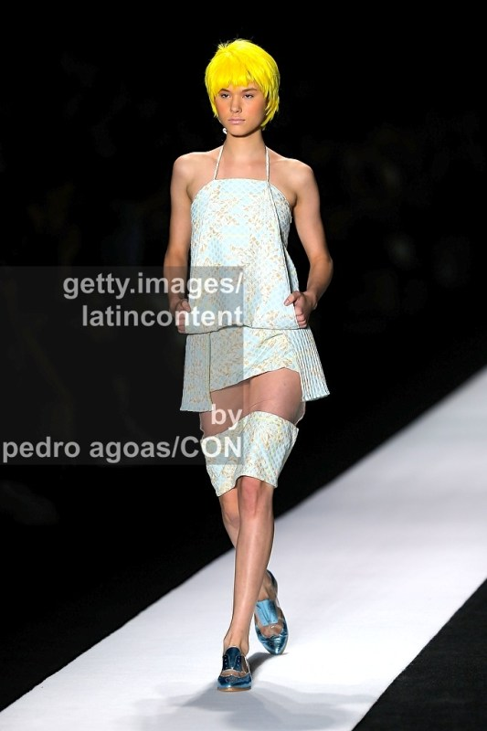 SAO PAULO, BRAZIL - MARCH 20: A model walks the runway at Fernanda Yamamoto 2013/2014 Collection show during São Paulo Fashion Week (SPFW) on March 20, 2013 in São Paulo, Brazil. (Photo by Pedro Agoas/LatinContent/Getty Images)