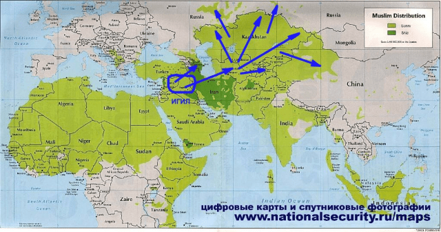 Possible IS/ISIS Offensive in Middle East (Quelle: Minist. f. Nationale Sicherheit, Russland, 2015)
