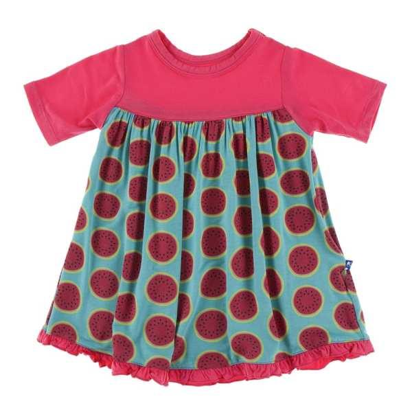 KicKee Neptune Watermelon Classic Short Sleeve Swing Dress
