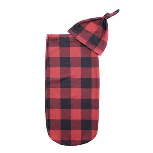 Itzy Ritzy Cutie Cocoon and Hat Buffalo Plaid