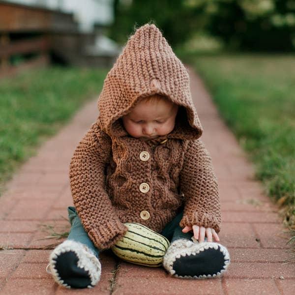 Huggalugs Hooded Coat Sweater Pecan