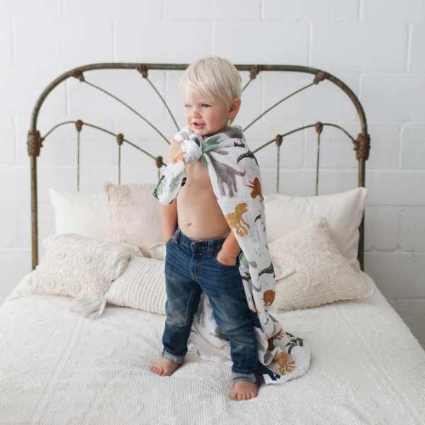 Little Unicorn Muslin Swaddle Blanket - Dino Friends