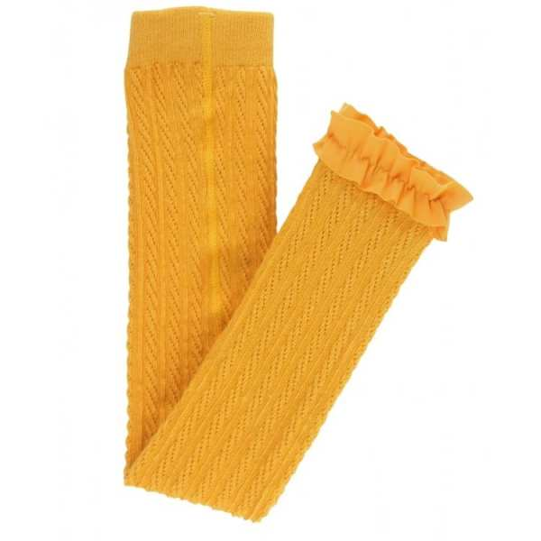 RuffleButts Golden Yellow Cable-Knit Footless Ruffle Tights