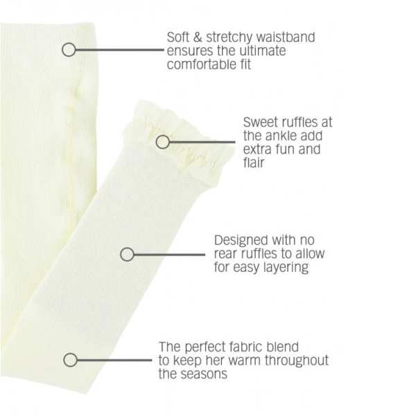 RuffleButts Ivory Footless Ruffle Tights