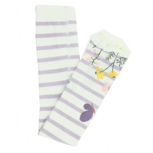 RuffleButts Misty Lilac and Ivory Stripe Floral Footless Ruffle Tights