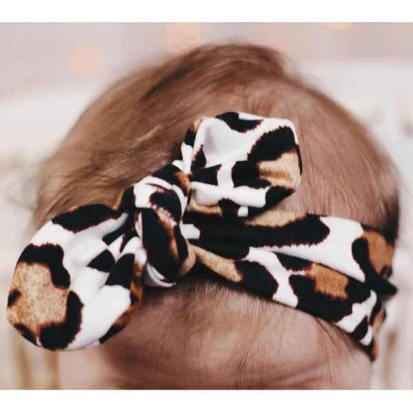 Jena Bug Knot Bow Headband - Ivory Cheetah