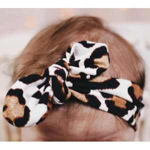 Jena Bug Knot Bow Headband - Ivory Cheetah