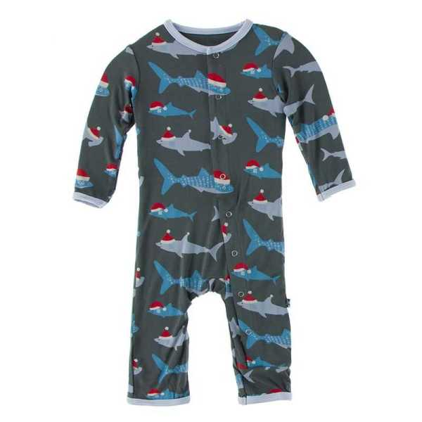 KicKee Pewter Santa Sharks Coverall with Snaps
