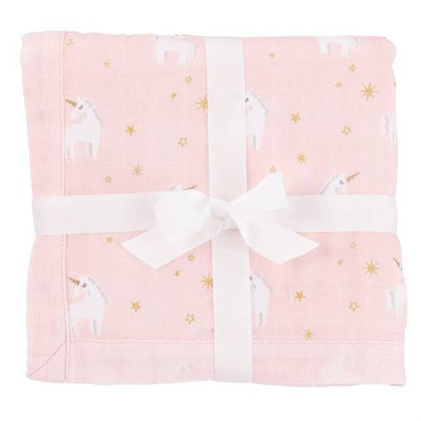 Mud Pie Unicorn Muslin Bamboo Receiving Blanket