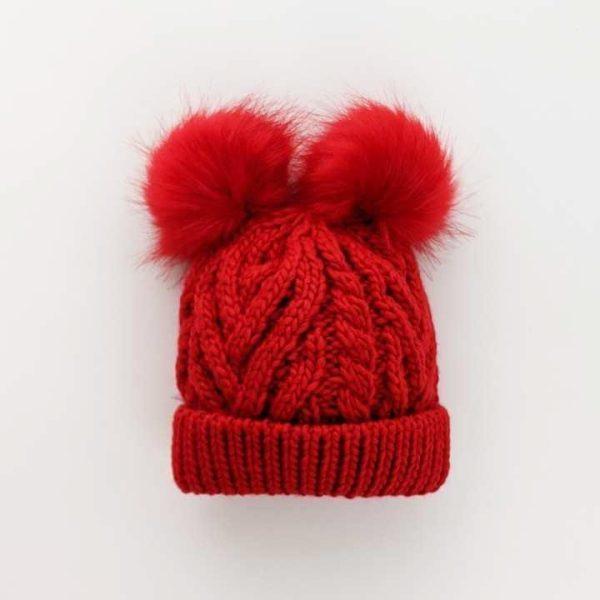 Huggalugs Fluffer Red Pom Pom Hat