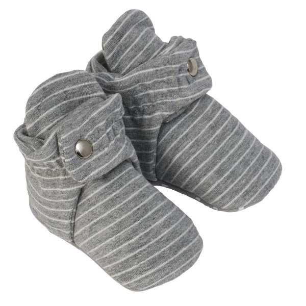 Robeez Snap Booties Baby Shoes - Stripe Grey