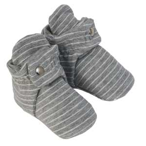 Robeez Snap Booties Baby Shoes - Stripe Grey
