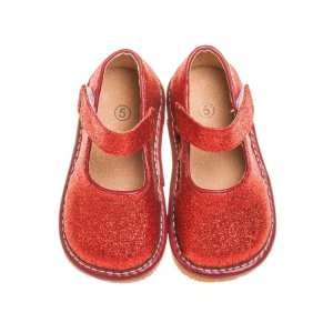 Squeaky Leather Shoes - Red Sparkle