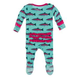 KicKee Glass Rainbow Trout Classic Ruffle Footie with Zipper