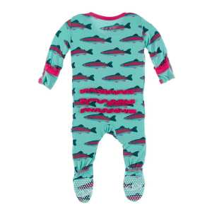 KicKee Pants Glass Rainbow Trout Classic Ruffle Footie with Snaps