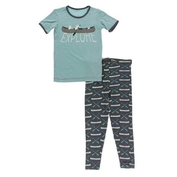 KicKee Pants Stone Paddles and Canoe Short Sleeve Graphic Tee Pajama Set