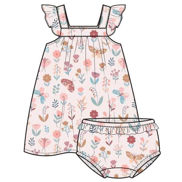 Angel Dear Butterfly Garden Petal Pink Sundress