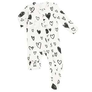 Angel Dear Hearts Ruffle Footie