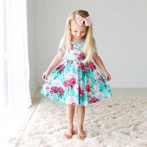 Posh Peanut Eloise Short Sleeve Basic Twirl Dress