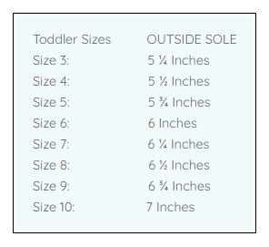 Squeaky Shoes Size Chart