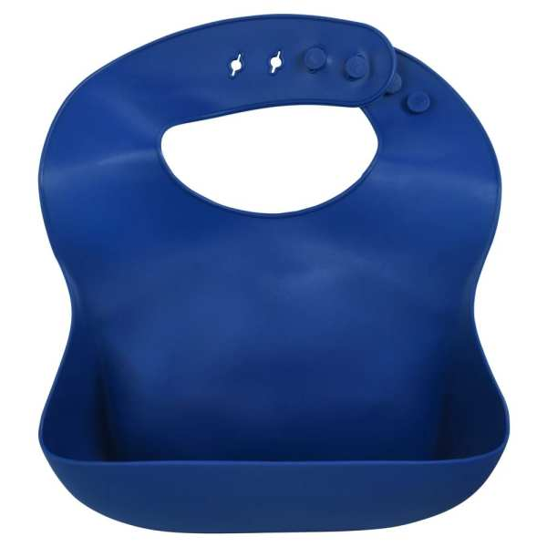 Three Little Tots Silicone Bib with Crumb Catcher - Sailor Blue