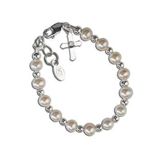 Cherished Moments Bracelet - Sterling Silver Freshwater Pearl Cross Baptism