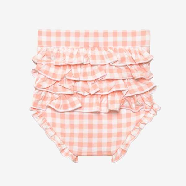 Posh Peanut Erin Short Sleeve Basic Peplum Top & Ruffled Bummies Set