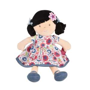 Tikiri Toys Lilac Black Hair with Blue Floral Dress