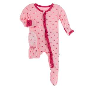 KicKee Pants Lotus Cherries and Blossoms Classic Ruffle Footie with Zipper