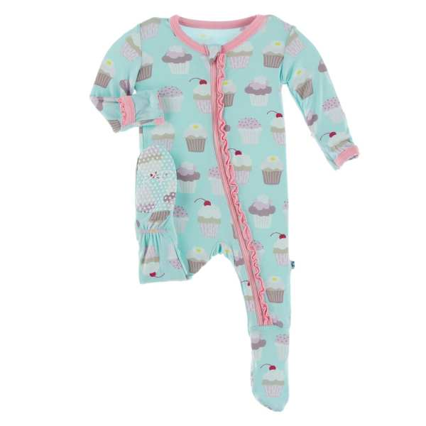 KicKee Pants Summer Sky Cupcakes Muffin Ruffle Footie with Zipper