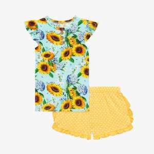 Posh Peanut Sunny Ruffled Cap Sleeve Henley T-Shirt and Ruffled Varsity Short