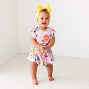 Posh Peanut Kaileigh Ruffled Cap Sleeve with Basic Twirl Skirt Bodysuit