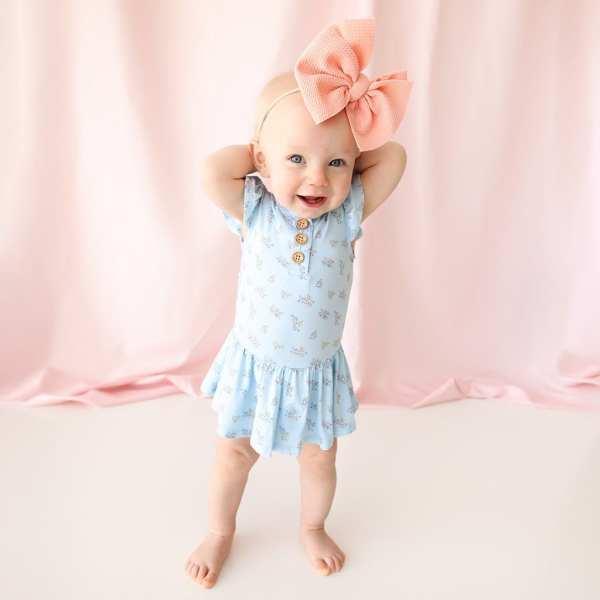 Posh Peanut Grace Ruffled Cap Sleeve Henley Basic Twirl Skirt Bodysuit
