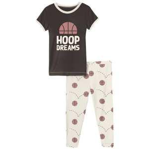 KicKee Pants Natural Basketball Short Sleeve Graphic Tee Pajama Set