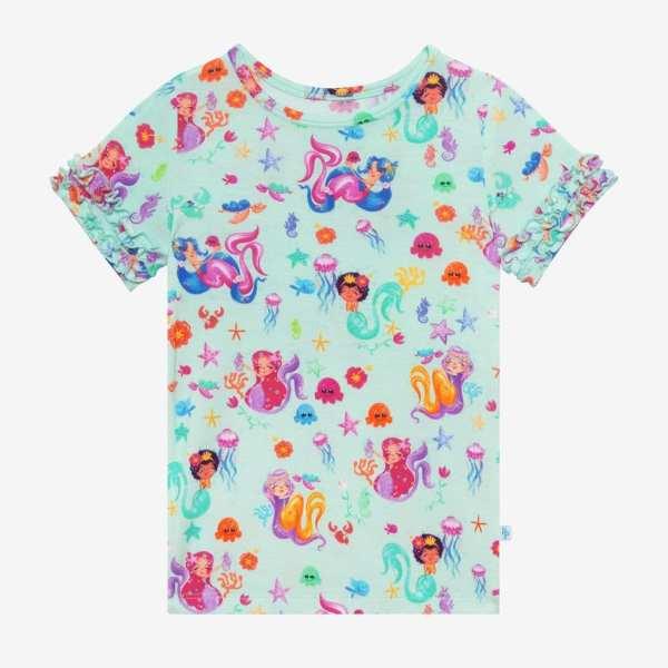 Posh Peanut Kai Short Sleeve Ruffled T- Shirt & Ruffled Shorts PJ