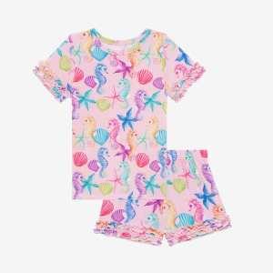 Posh Peanut Coral Basic Short Sleeve Micro Ruffled T- Shirt & Micro Ruffled Shorts PJ