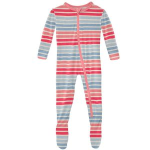 KicKee Pants Cotton Candy Stripe Classic Footie with Zipper