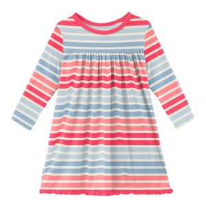 KicKee Pants Cotton Candy Stripe Long Sleeve Swing Dress