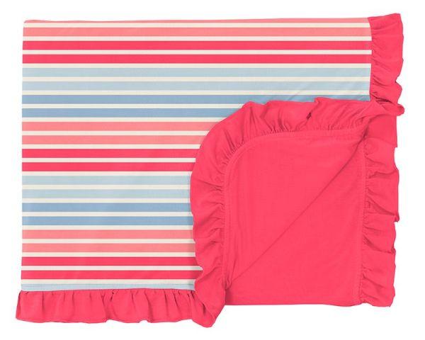 KicKee Pants Cotton Candy Stripe Ruffle Toddler Blanket