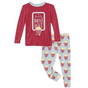 KicKee Pants Illusion Blue Popcorn Long Sleeve Graphic Tee Pajama Set